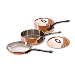 Mauviel M\'Heritage Copper M250C 6501.00 5-Piece Copper Cookware Set, Cast Iron Handle