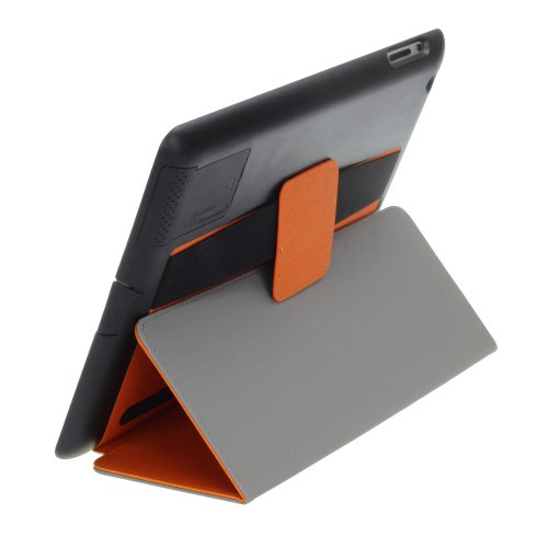 Kinps® Soundboost Apple Ipad 2/3/4 Case - Slim Smart Case With Built-In Sound Reflector To Boost Volume, Magnet Activated Sleep/Wake Smart Cover And Fold-Away Stand With Secure Hand Strap