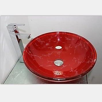 wev autique runde geh rtetes waschbecken aus glas mit wasserhahn einbauring und wasser drainvtn. Black Bedroom Furniture Sets. Home Design Ideas
