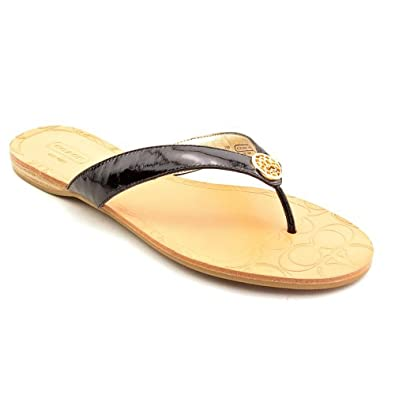 COACH SARA BLACK PATENT LEATHER THONG SANDAL WOMAN SHOE SIZE 8 M
