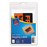FRAGILE-HANDLE WITH CARE Labels, 3 x 5, Black/Neon Red, 40/Pack