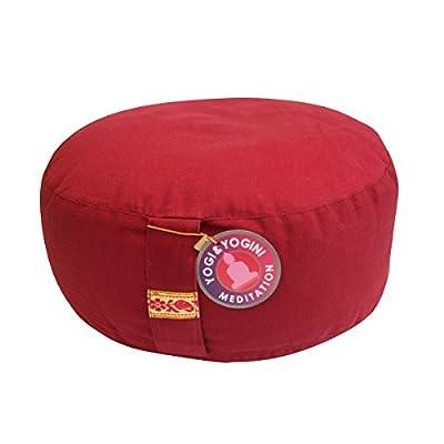 Meditationskissen Sitzkissen Kissen buddhistisch rot mit Buchweizenspreu Füllung