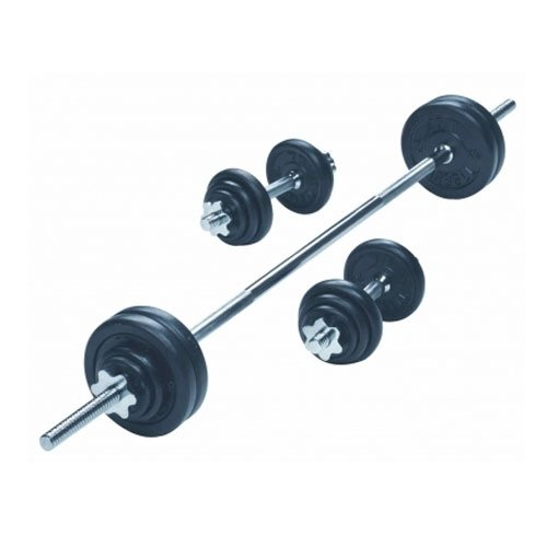 YORK 50kg Black Iron BB/DB  Unisex Adult Weights Black