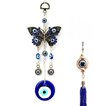 Blue Butterfly Evil Eye Amulet & a Bonus Evil Eye Hanging for Office or Home
