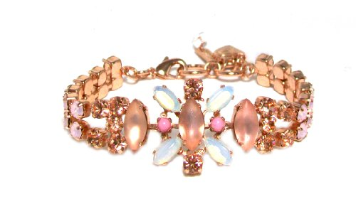"""Mariana Spirit of Design 24K Rose Gold Plated """"Tiara Day Collection"""" Swarovski Crystal Cuff Bracelet in White Opal/Frosted Light Peach"""