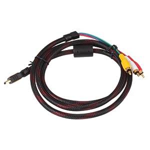 DragonPad 5 Feet 1.5m Hdmi Male to 3rca 3 RCA Video Audio Av Cable