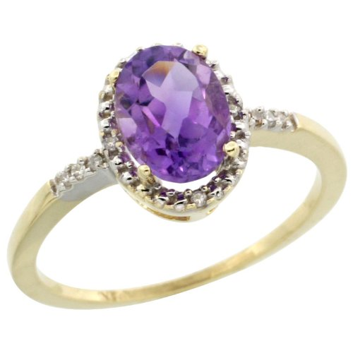 10k Gold ( 8x6 mm ) Halo Engagement Amethyst Ring w/ 0.033 Carat Brilliant Cut Diamonds & 1.17 Carats Oval Cut Stone, 3/8 in. (10mm) wide, size 7