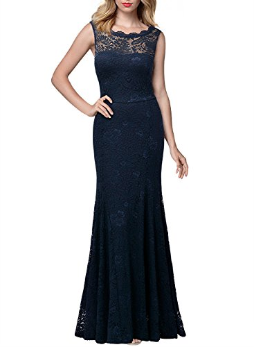 Miusol Women's 1920'S Retro Floral Lace Sleeveless Halter Bridesmaid Long Dress (XXX-Large, Navy Blue)