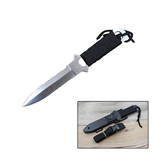 FOCUS Swiss Army Knife Outdoor Diving Leggings Straight Knifes Set for Self-defense Tool (White Sharp Knife)