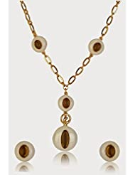 Estelle Gold Plated Necklace Set With White Color For Women