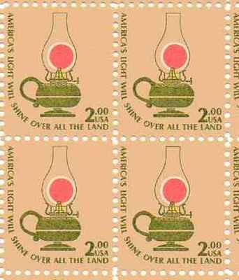 America's Light Will Shine Set of 4 x 2 Dollar US Postage Stamps Scot 1611