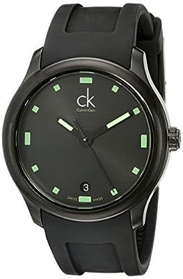 Calvin Klein Men's K2V214DX 'Visible' Black/Green Dial Black Rubber Strap Swiss Quartz Watch
