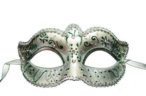 Venetian White & Silver Eye Mask With Rhinestone (Colors May Vary) front-60295
