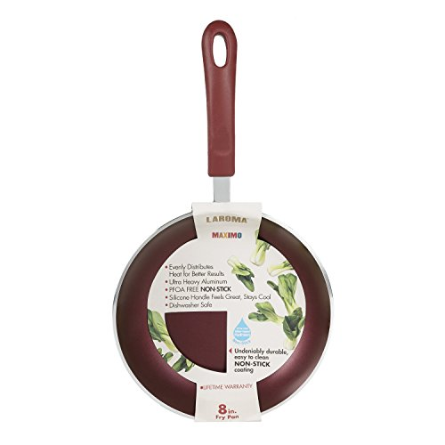 Laroma Maximo 8in Fry Pan - Non-Stick Coating - Easy-To-Clean and Undeniably Durable - Dishwasher Safe - Evenly Distributes Heat on Electric, Gas, and Glass Ceramic Stoves - Red (Pasta Pot For Gas Stove compare prices)