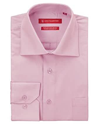 "Gino Valentino Men's Dress Shirt Pure Cotton Spread Collar Barrel Cuff (14.5"" Neck 32/33 Sleeve, Purple)"