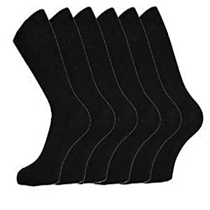 6 Pairs of Mens Black Cotton Rich Formal Socks with Lycra 6-11