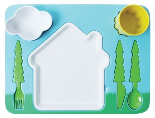 "Landscape"" Melamine Kids Dinner 7-Piece Set, Plate, Cup, Utensils, Bowl front-65812"