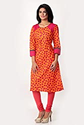 SPAN Girls Cotton ORANGE Kurta (Medium)