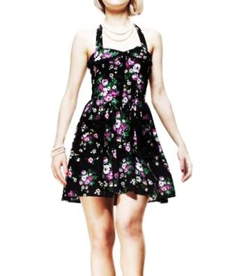 HELL BUNNY Black MINI DRESS Mayday Flowers MICHELLE All Sizes