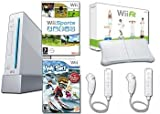 Nintendo Wii with Wii Fit and Balance Board, 4 Controllers, Wii Sports, and Wii Ski
