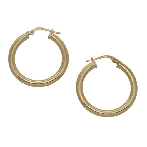 9ct Yellow Gold 20mm Plain Creole Earrings