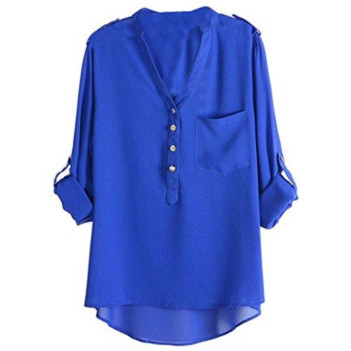 Bestnow Women's Spring Summer Chiffon V-neck Sleeveless Pocket Blouse Shirt Tops (XL, Blue)