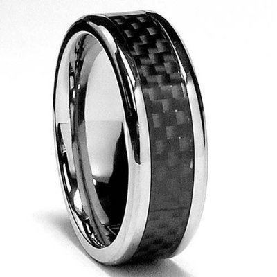 Black Titanium Carbon Fiber 8mm Mens Wedding Ring (Available Sizes 5-16) (15.5)