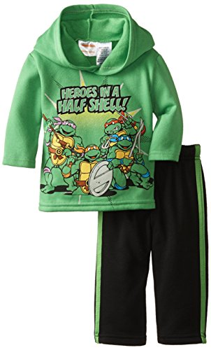 Nickelodeon Baby-Boys Newborn'S Ninja Turtles Infant 2 Piece Green Tricot Pant Set, Green, 12 Months front-1073883