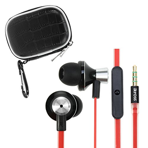 Ikross In-Ear 3.5Mm Noise-Isolation Stereo Earbuds With Microphone (Black / Red) + Black Small Accessories Carrying Storage Eva Case For Samsung Galaxy S5/ S4, Galaxy Note 3 2 Cellphone Smartphone Tablet And Mp3 Player