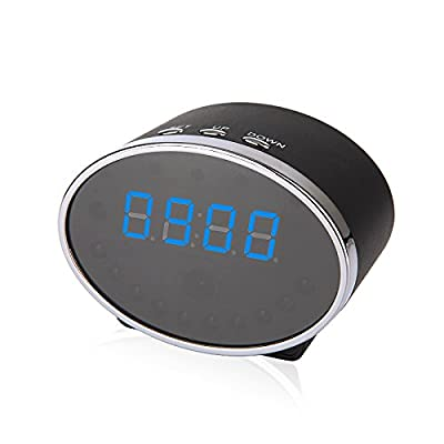 720p HD WiFi Smartphone Ready Alarm Clock with IR Night Vision Hidden Nanny Cam with Live Steam & Motion Detection