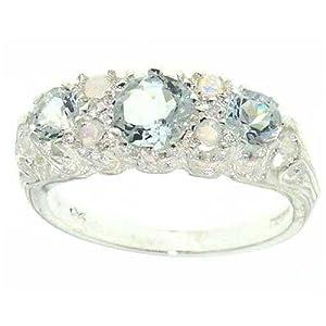 Sterling Silver Ladies Aquamarine & Opal Ring
