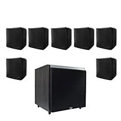 Acoustic Audio CUBE35B 7.1 Home Surround Speaker System w/Black 12&quot; HD Powered Sub