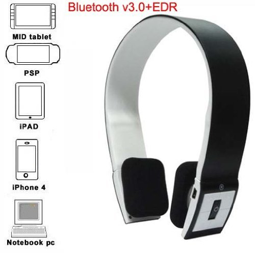 Baiyuyi Bluetooth Stereo Headset With Microphone-In For Iphone 4/4S /Ipad 2 3 /Ps3 - Support Two Device At The Same Time Black