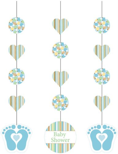 Party Hanging Cutouts - Blue Tiny Toes - 3 pieces - 1