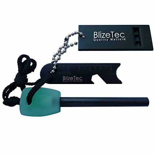 Survival Magnesium Flint Fire Starter by BlizeTec: 6-in-1 Emergency Fire Starter with Luminous Green Handle, Mini Ruler, Bottle Opener, Serrated Edge and Rescue Whistle; Best for Camping, Hiking, Hunting, Outdoor Activities & Disaster Preparedness; Last Up to 12,000 Strikes; Quality Assurance & Backed by 3 Years Warranty