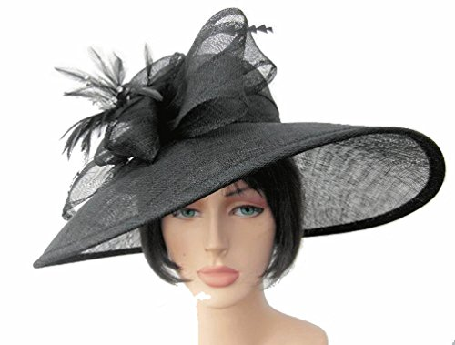 High Quality Black Sinamay Asymmetric Shaped Wide Brim Formal Hat with Side Bow and Feathers