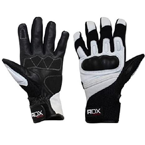 Gants moto ADX XRUN - Mi-saison - Cuir et textile - Noir / Blanc - Taille S
