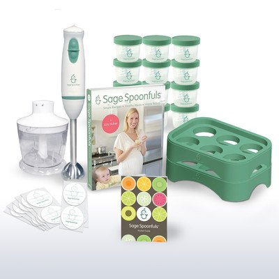 """Baby Food Maker - Sage Spoonfuls Award-Winning All Natural Baby Food System - """"Let'S Get Started"""" Package With Immersion Blender And Food Processor, Storage Jars, Trays, And Recipe Book"""
