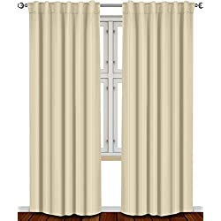 Thermal Insulated Blackout Curtains Beige , 2 Panels , 52 inch wide by 84 inch long each panel, 7 Back Loops per Panel, 2 Tie Back Included - by Utopia Bedding