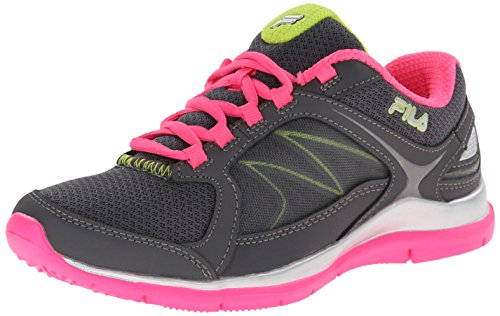 Fila Women's Memory Resilient 2 Training Shoe, Castlerock/Lemon Punch/Neon Pink, 8.5 M US