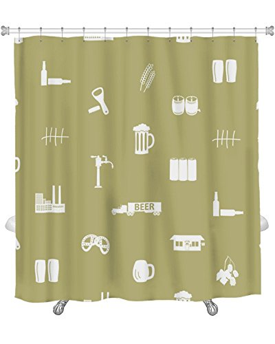Gear New Shower Curtain, Image Of Beer Icon Pattern Eps10, GN8846
