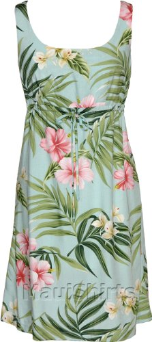 Empire Tie Front Short Tank  Pale Hibiscus Orchid Empire Waist Scoop Square Neck Knee Length Hawaiian Aloha Pullover Dress in Aquamarine  L Picture