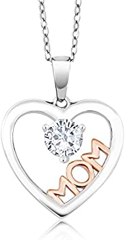Gem Stone King 0.35 Ct Moissanite Mom 925 Necklace