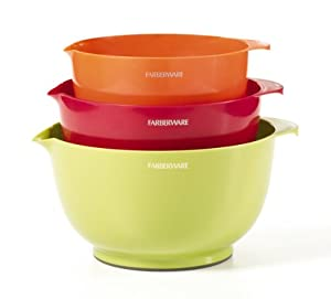 Farberware Classic Plastic Mixing Bowls, Mixed Colors, Set of 3 by KitchenAid