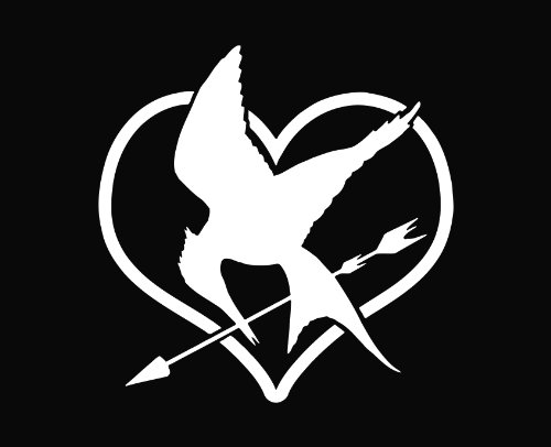 Mockingjay Heart The Hunger Games Vinyl Decal Sticker Wht 5.5