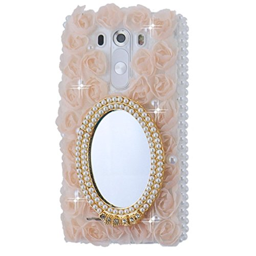 Evtech (TM) per LG G3S MINI/Vigor LS885D725/Beat/3d Handmade moda strass Cover rigida custodia trasparente (100% Fatto a mano) (non per LG G3)