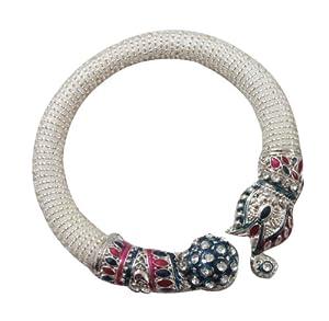 Handmade Artisan Enamel Elephant Cuff Bracelet