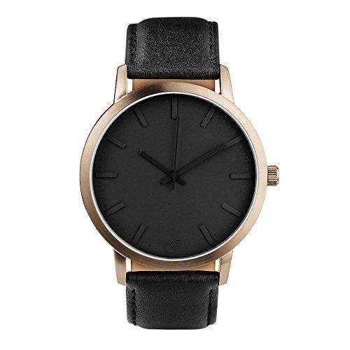 gaxs-watches-james-v-bracciale-da-uomo-orologio-bronzo-con-cinturino-in-pelle-nero