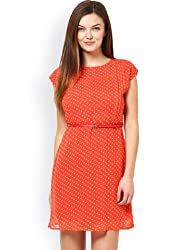 Prakum Women's Georgette Dress (SK-842_Small_Orange)