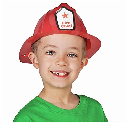 Plastic Strapless Child Size Fireman Helmets Hats (12 per package)